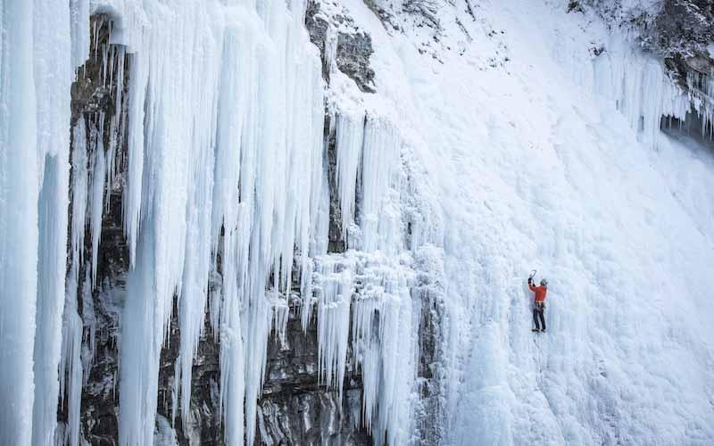 Winter ice climbing at Johnson Canyon, Banff National Park.