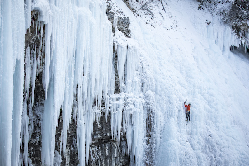 Ice climber at Johnson Canyon, Banff National Park