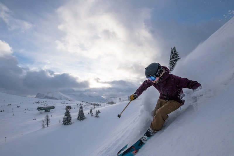 A female skier at Sunshine Village