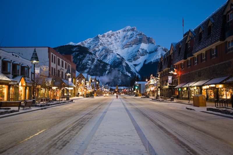 Nighttime view of downtown Banff, Banff National Park, Canada.
