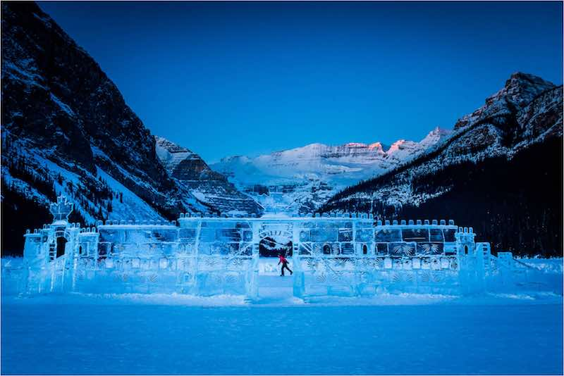 Ice castle sculpture at Lake Louise, Banff National Park.