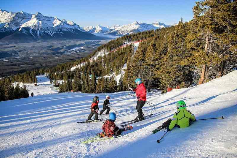Kids ski at Lake Louise Ski Resort, Banff National Park.
