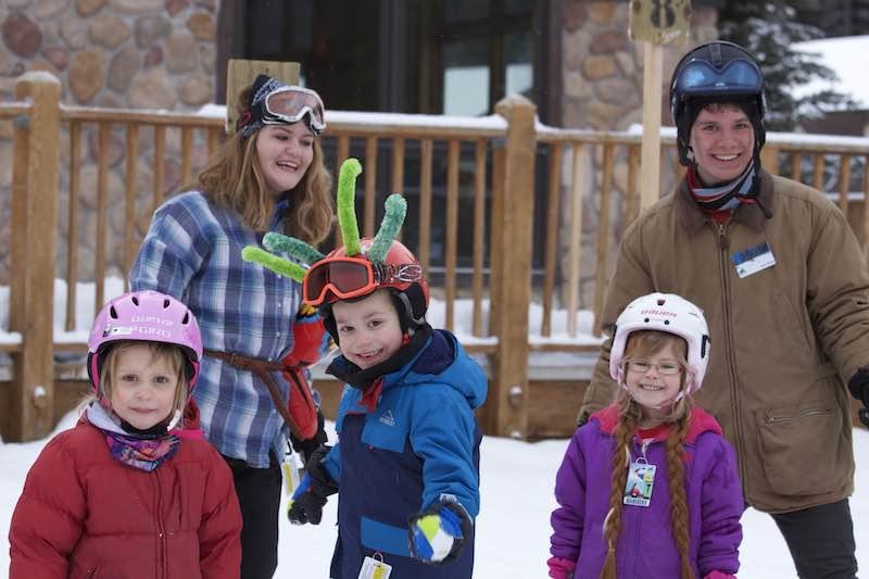 Kids at Mt. Norquay ski resort, Banff National Park.
