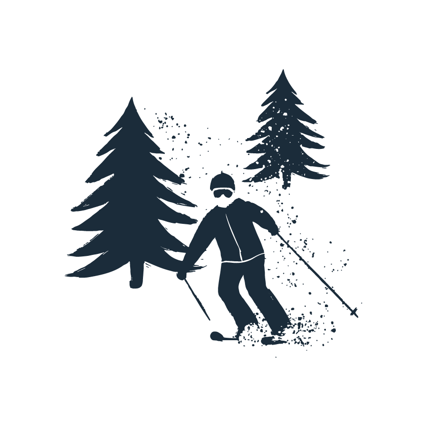 Skier in trees