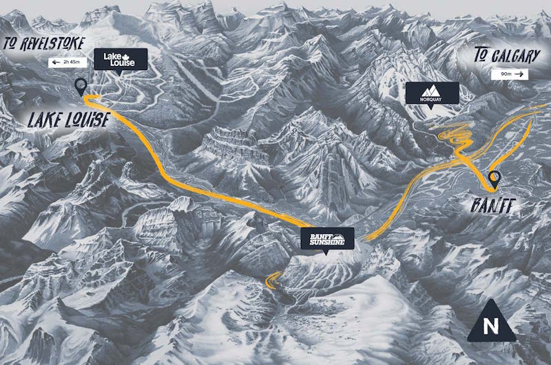 map of the SkiBig3 resorts from Lake Louise to Banff