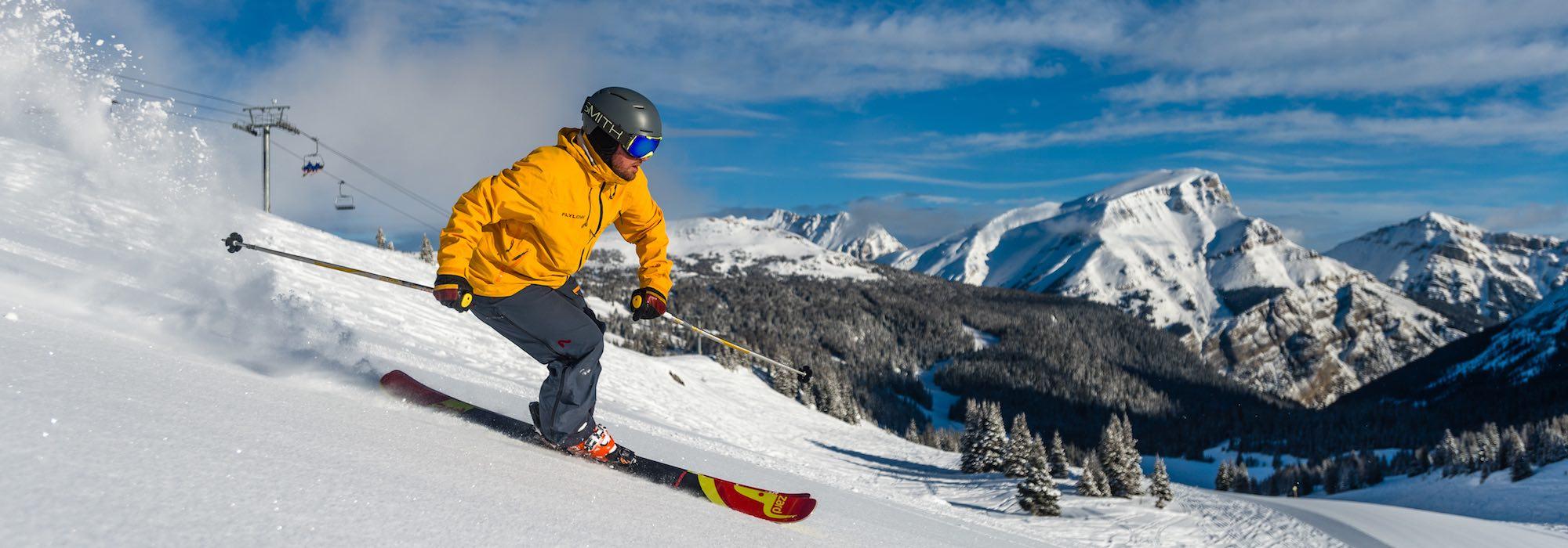 Skier at Sunshine Village in Banff National Park.