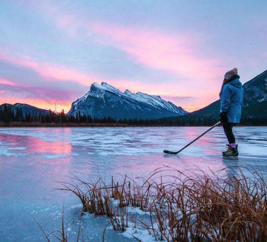 Sunrise skate at Vermillion Lakes, Banff National Park.