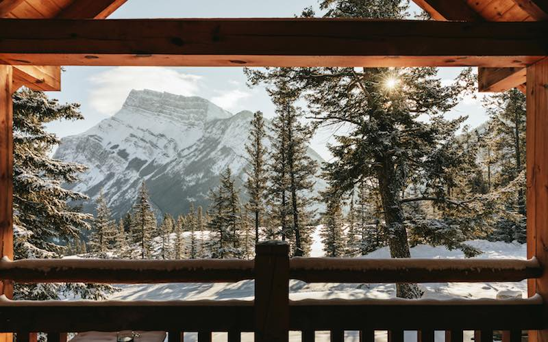 View of Mt. Rundle from a room at Buffalo Mountain Lodge, Banff National Park.
