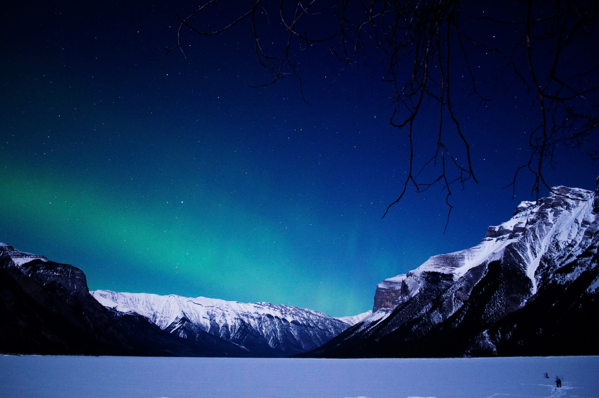 Aurora Borealis at Lake Minnewanka, Banff National Park.