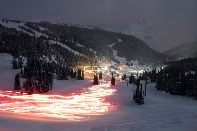 Torchlight Parade at night at Banff Sunshine Village, Banff National Park.