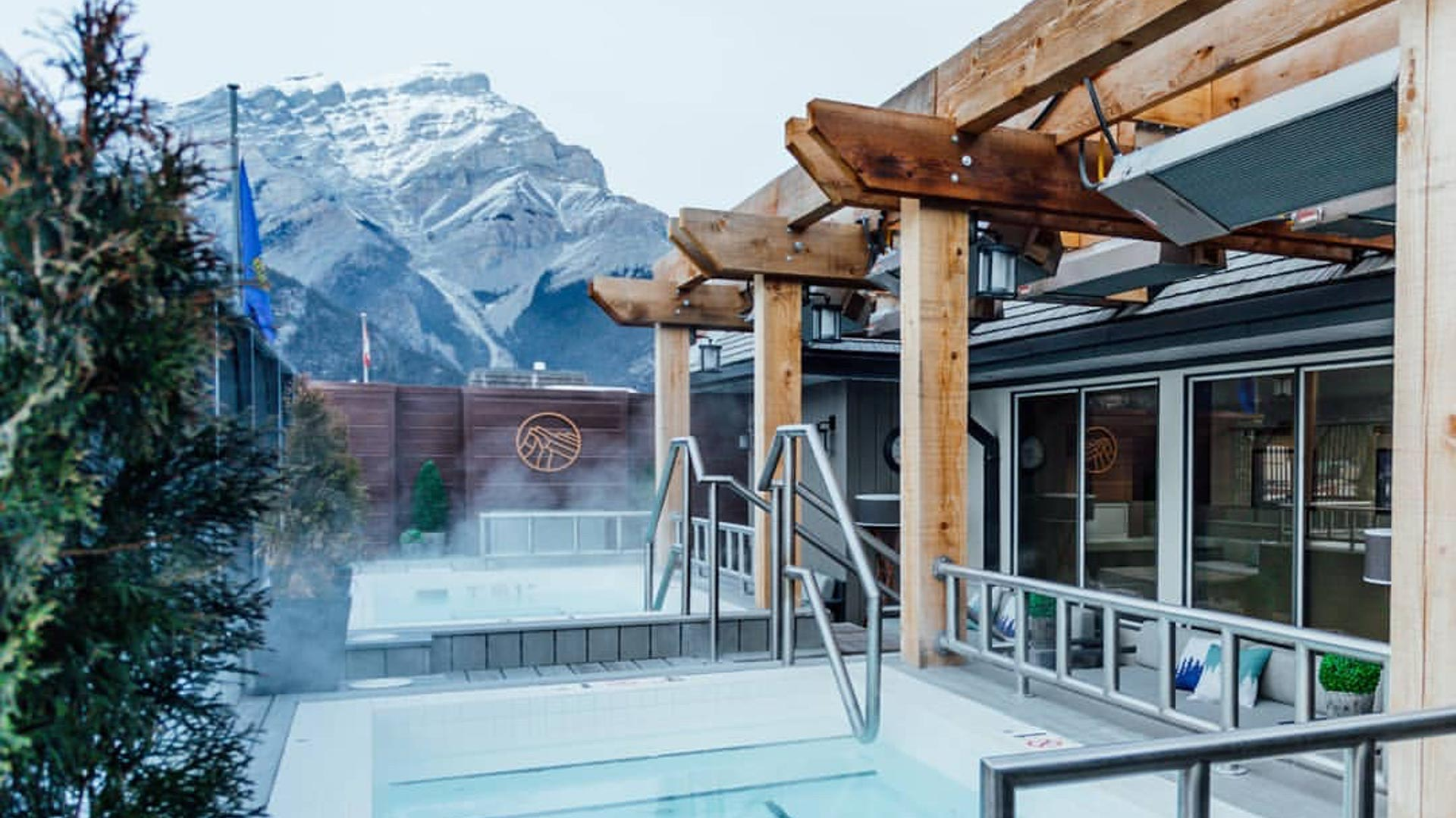 Roof top hot pool at Mount Royal Hotel, Banff National Park. Photo courtesy of Pursuit.