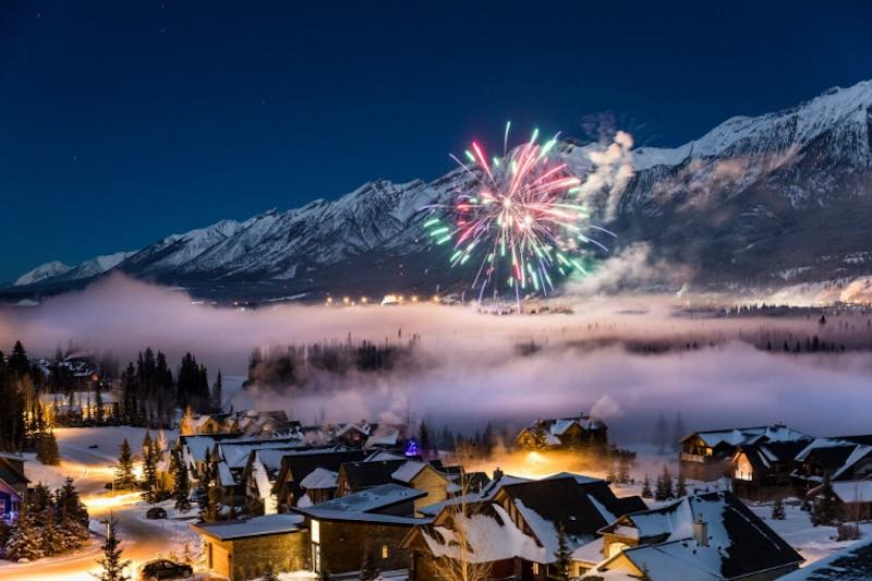 Fireworks above the town of Canmore, Alberta.