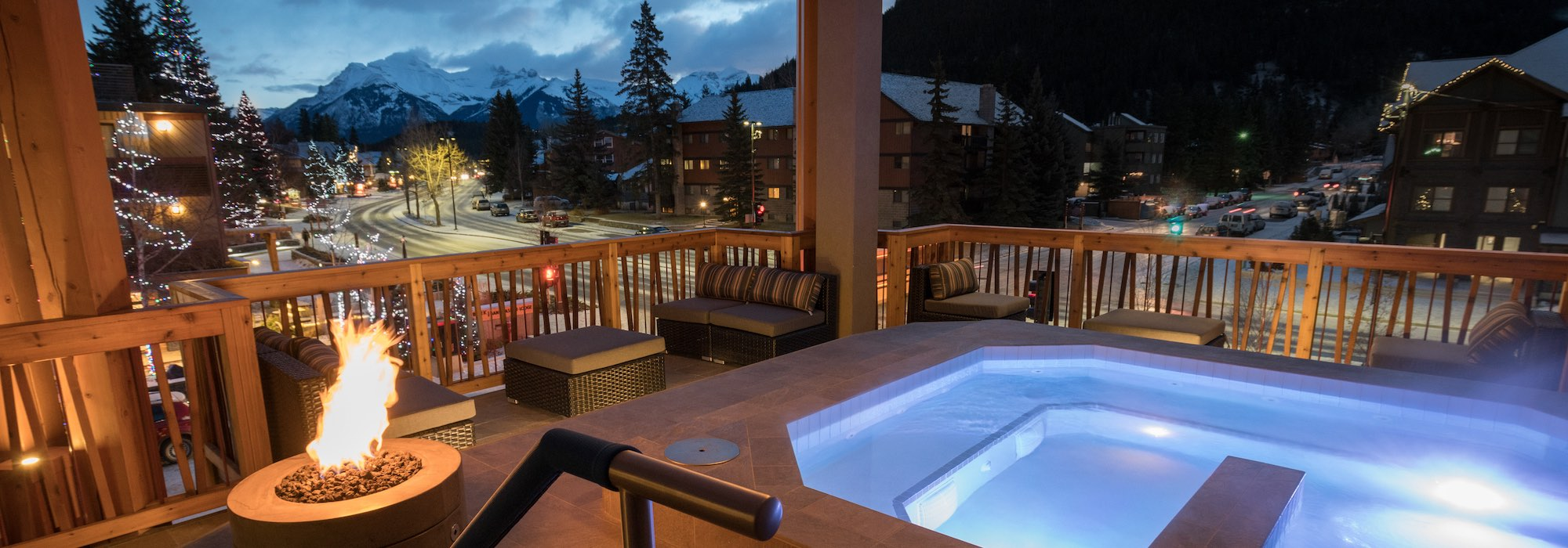 Rooftop hot pool at the Moose Hotel & Suites, Banff National Park.