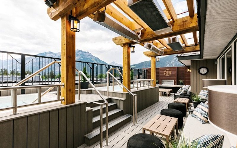 Roof top hot pool at Mount Royal Hotel, Banff, Alberta.