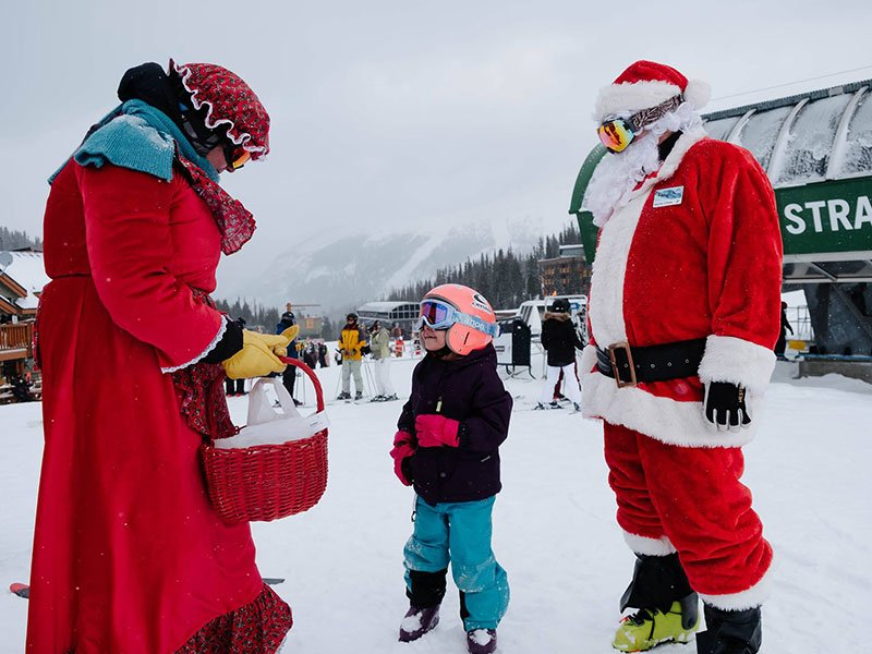 Santa on the Mountain at Banff Sunshine Ski Resort