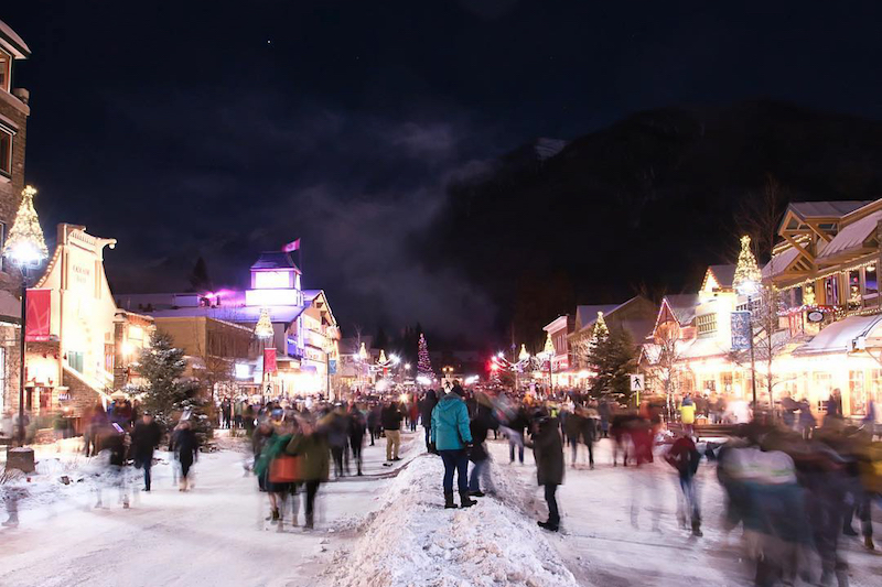 Night time shot of downtown Banff Avenue in winter, Banff National Park.
