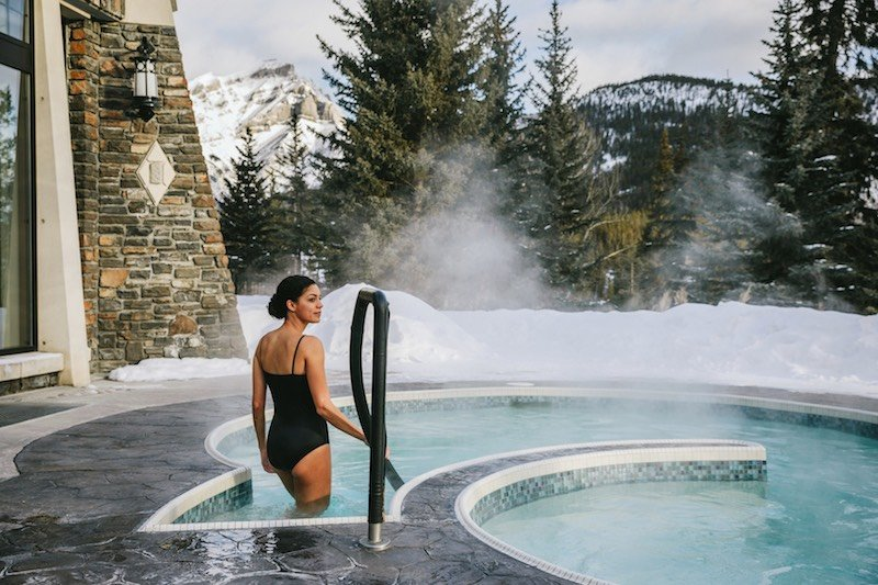 Outdoor hot pool at Willow Stream Spa, Fairmont Banff Springs Hotel, Banff National Park.