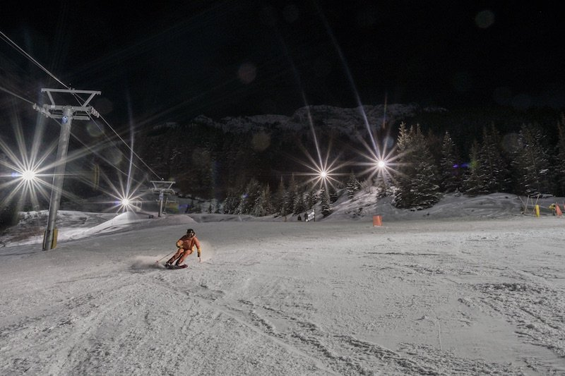 Renee McCurdy night skiing at Mt. Norquay ski resort in Banff National Park.