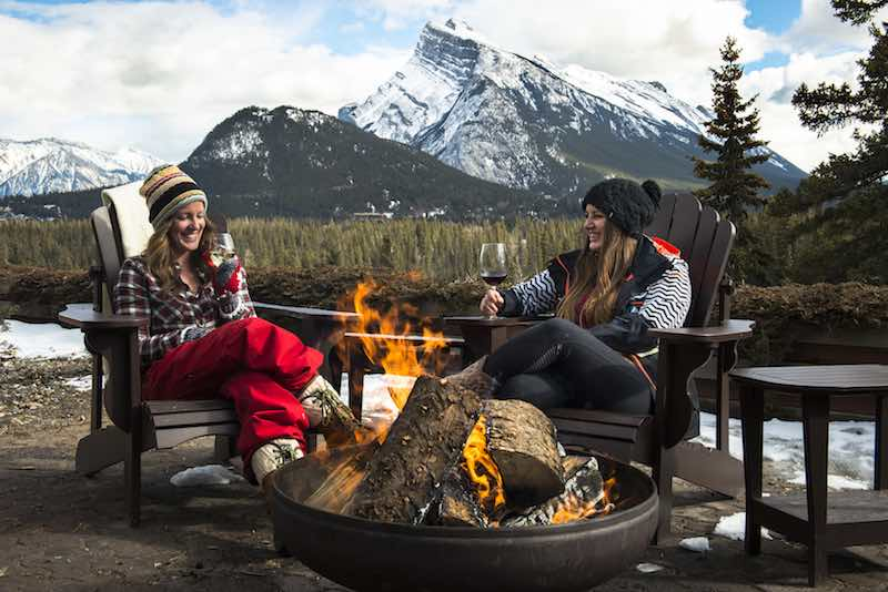 Outdoor firepit at the Juniper Hotel and Bistro in Banff National Park.