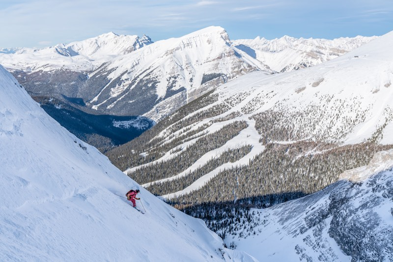 Renee McCurdy skiing at Banff Sunshine Village ski resort in Banff National Park.
