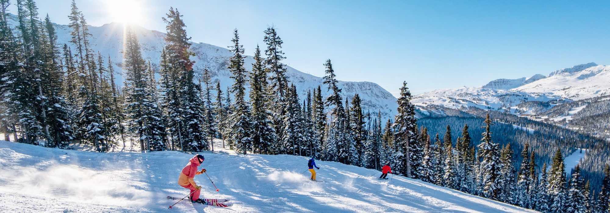 Skiers at Banff Sunshine Village in Banff National Park.