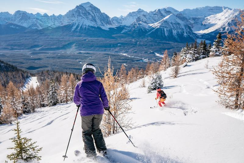 Renee McCurdy skiing at Lake Louise Ski Resort in Banff National Park.