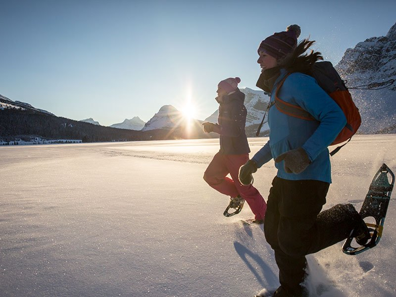 Snowshoeing at Bow Lake, Banff National Park