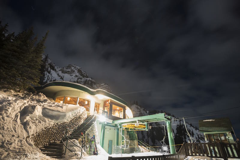 Exterior night shot of Cliffhouse Bistro at Mt. Norquay