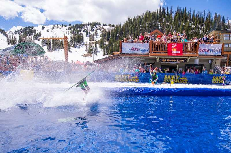 Pond skim competitor at Slush Cup 2018 at Banff Sunshine Village, Banff National Park.