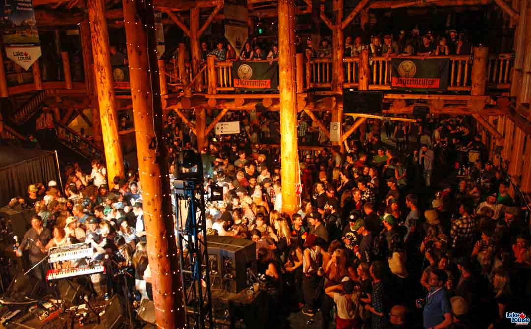 Shake the Lake 2018 afterparty in the Lodge of the Ten Peaks at Lake Louise Ski Resort.