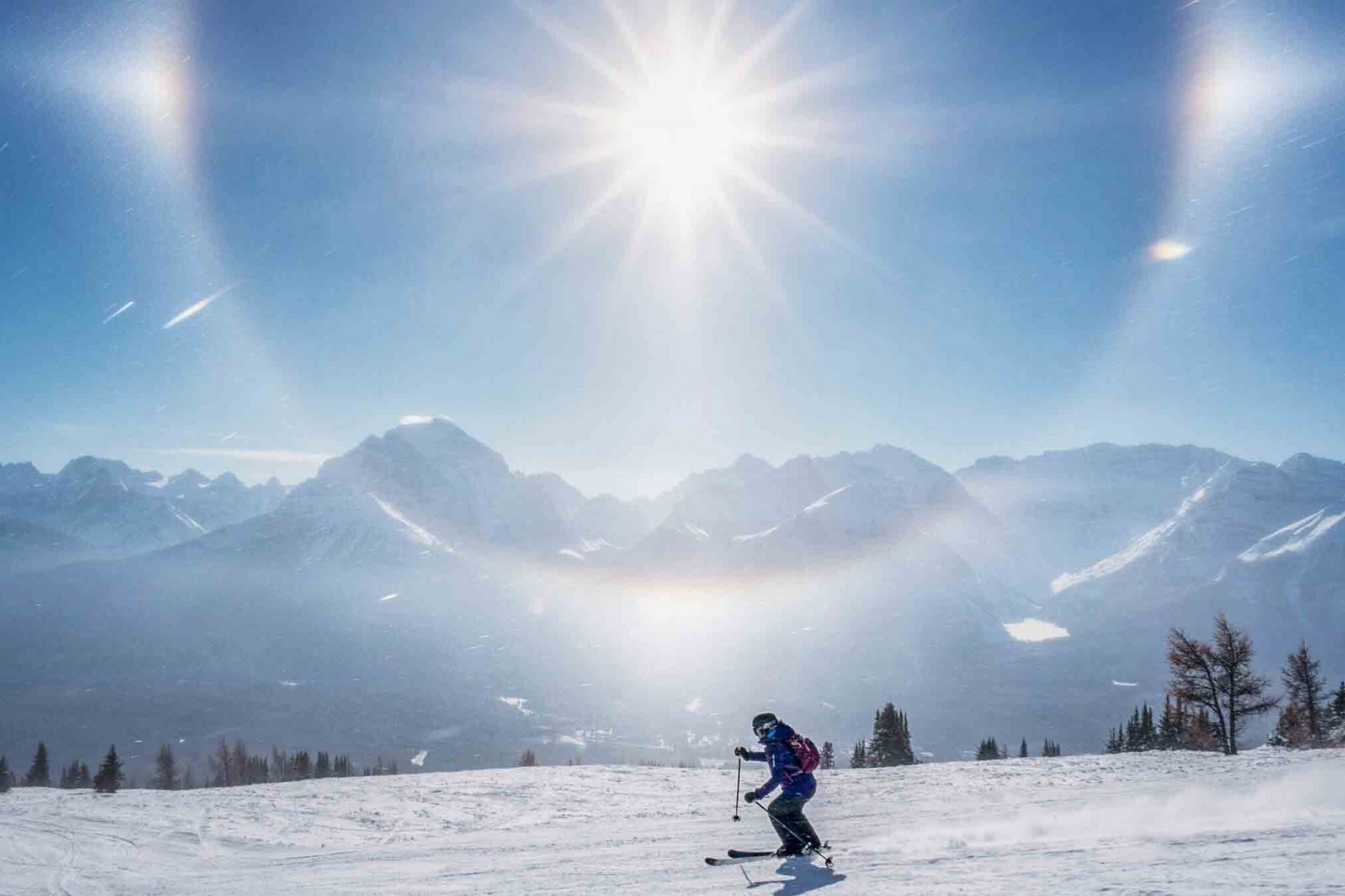 Sundog and mountain vistas at Lake Louise Ski Resort, Banff National Park.