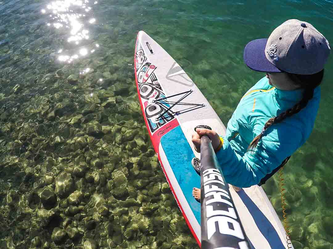 SkiBig3 Ambassador Sue Shih gets in a shoulder season paddle near Banff.