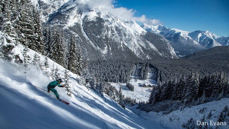 Matt Monod skies down Boundary Bowl at Mt. Norquay, Banff National Park.