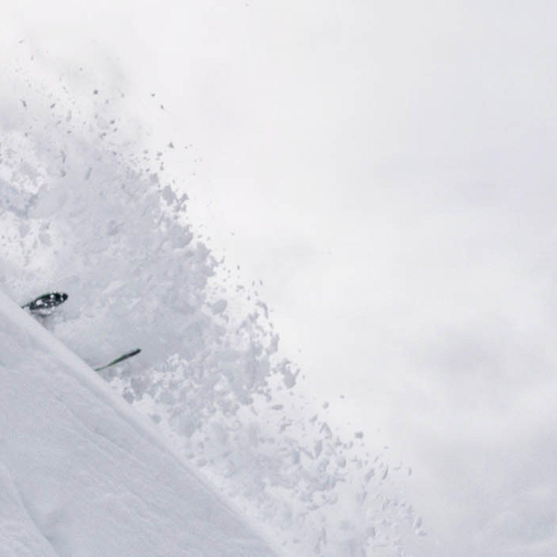Cole Richardson skiing Lipalian Chutes at Lake Louise Ski Resort, Banff National Park.