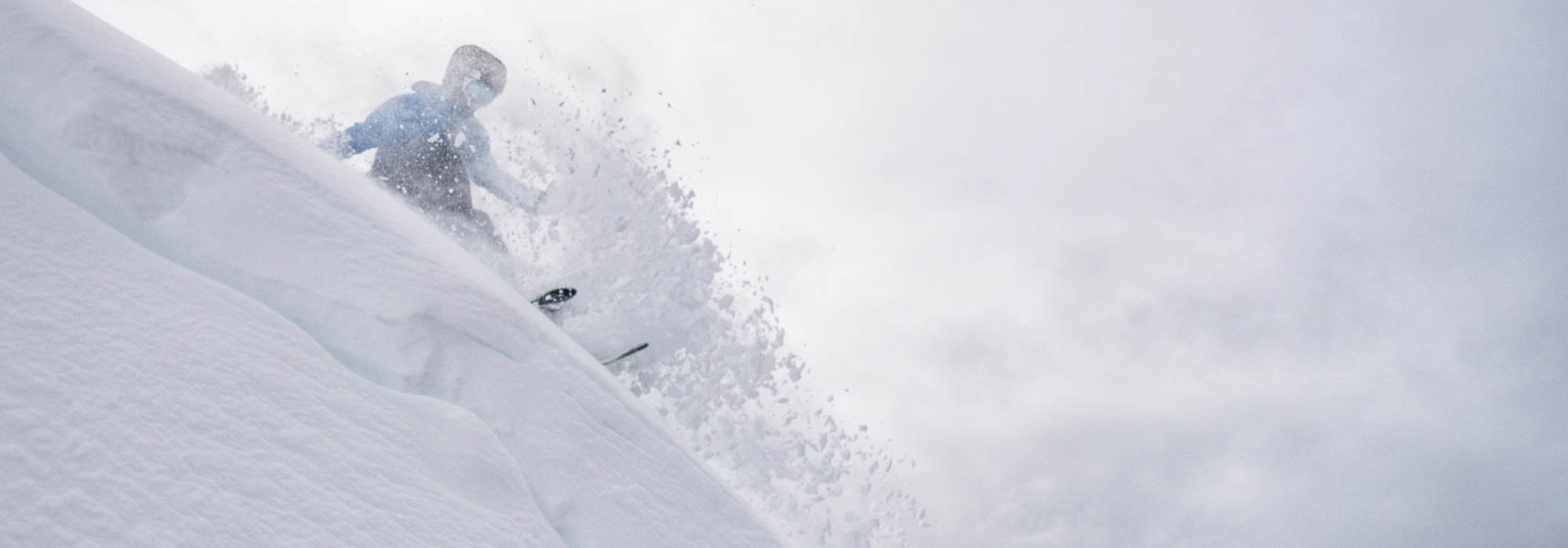 Cole Richardson skiing Lipalian Chutes at Lake Louise Ski Resort, Banff National Park.