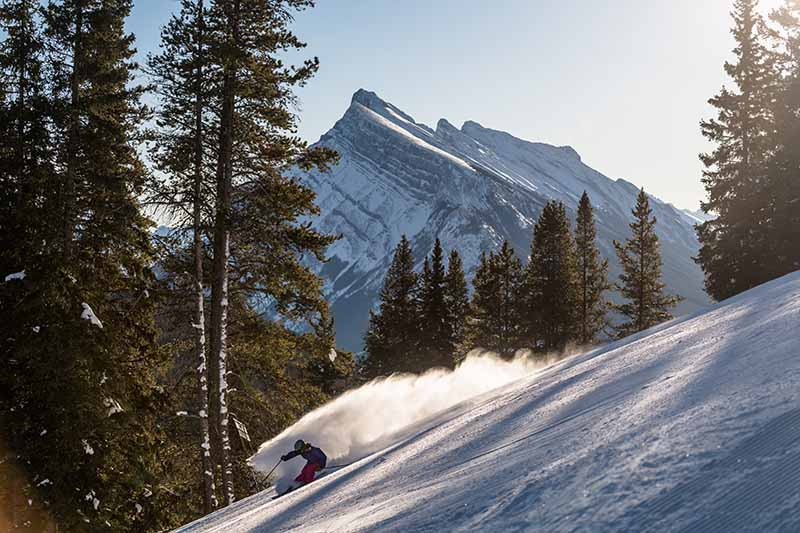 Skier at Mt. Norquay, Banff National Park.