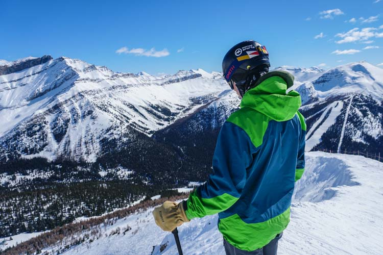 Skier Louis-Panning Osendarp at the top of Eagle Ridge, Lake Louise Ski Resort. Photo by Daniel Thomson.
