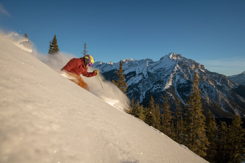Skier at Mt. Norquay ski resort in Banff National Park.