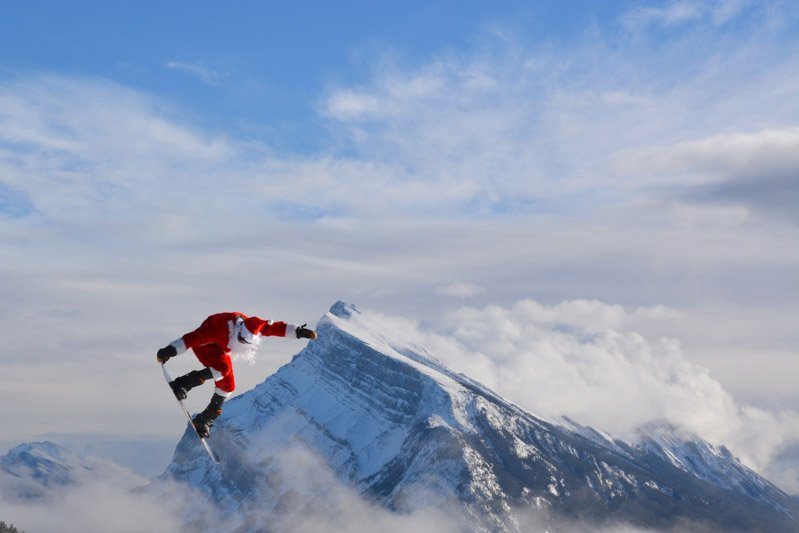 Santa shredding at Mt. Norquay.