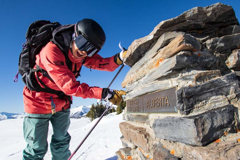 The border of Alberta and British Columbia on Great Divide chair. Photo by Liam Doran.