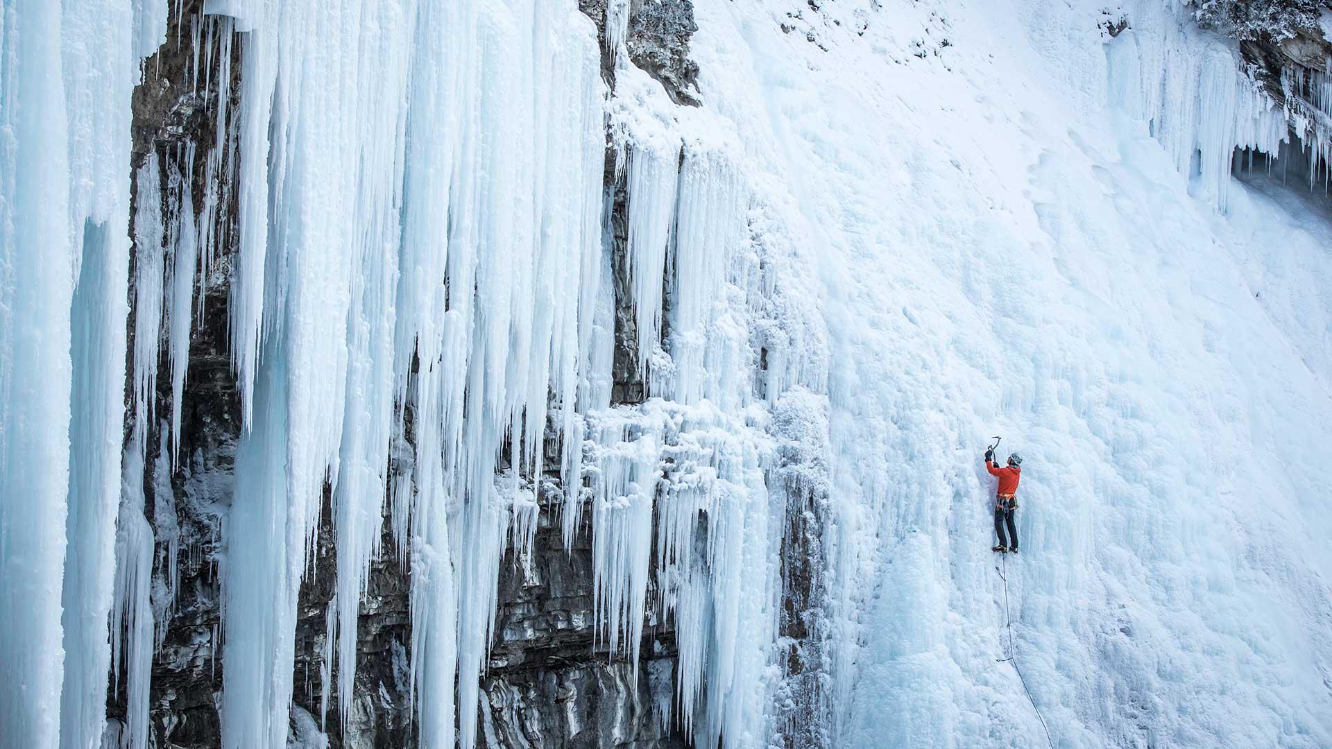 Winter Ice Climbing Johnson Canyon, Banff National Park
