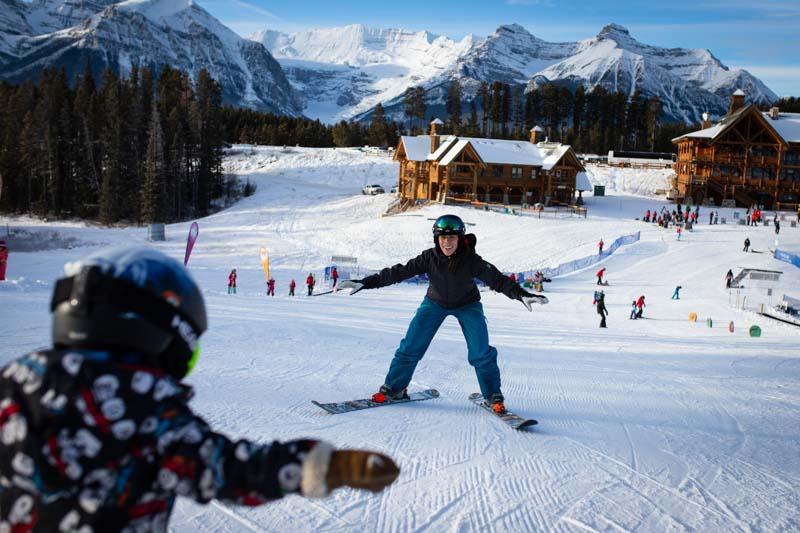 Child partakes in free lessons at Lake Louise Ski Resort during Alpine Ski World Cup.