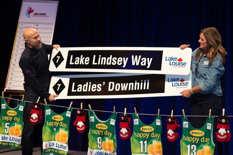 Lake Louise Ski Resort announces Lindsey Vonn's namesake run at the World Cup bib draw at Fairmont Chateau Lake Louise.