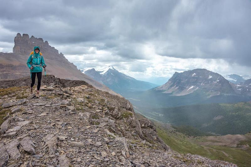 Rainy hiking in the Icefields Parkway area of Banff National Park.