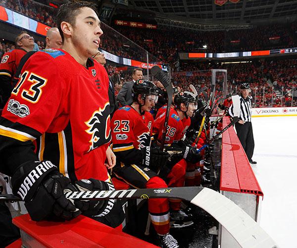 Watching a NHL Calgary Flames home game in Calgary, Alberta, Canada