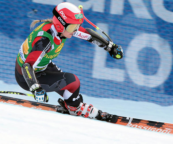 Ski racer at Alpine Ski World Cup, Lake Louise Ski Resort.