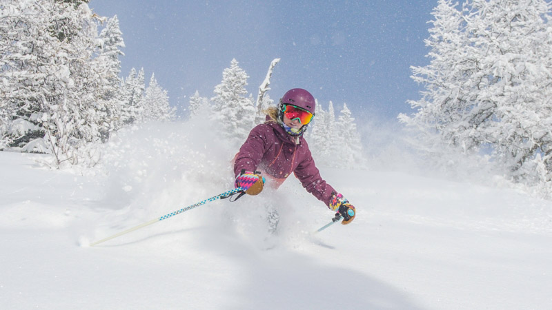 Early season powder skiing at Lake Louise Ski Resort, Banff National Park.