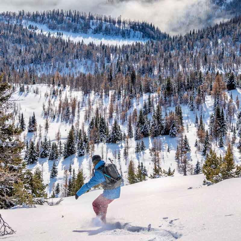 Backcountry snowboarding near Banff Sunshine Village in Banff National Park.