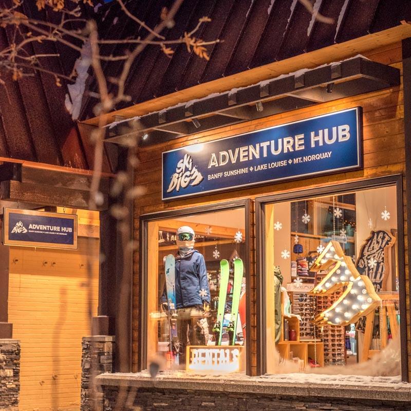 Exterior shot of SkiBig3 Adventure Hub in Banff, Alberta.