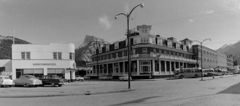 Historical photo of Mount Royal Hotel in downtown Banff, Banff National Park.